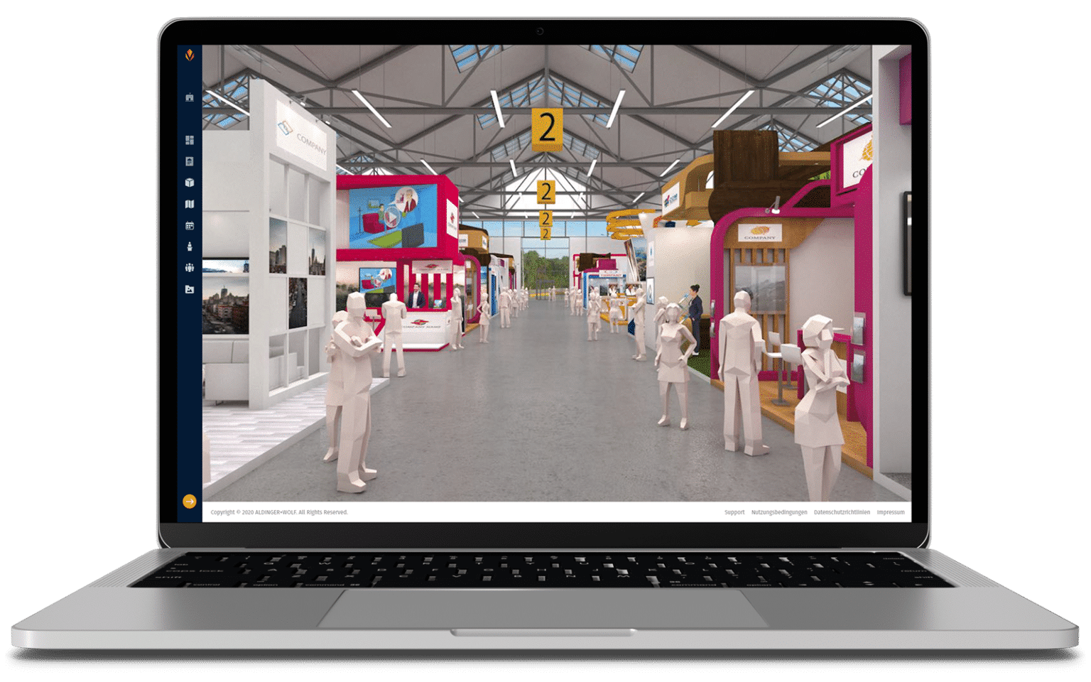 Macbook mit Plattform für virtuelle Messe